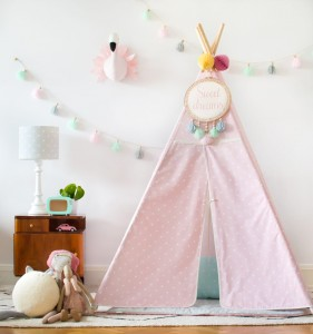 Tipi do zabawy.  Dots Pink&Grey